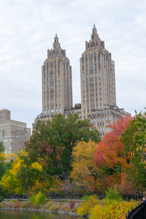 fall trees: Eldorado building in the Upper West Side of Manhattan from the famous Fred Shuman Running Track Editorial