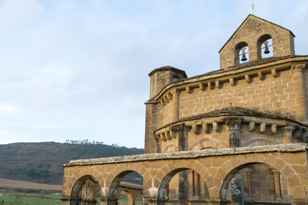 12th century: 12th century Romanesque church located in the North of Spain which origin remains controversial. Stock Photo