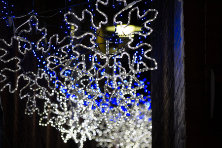 Christmas lighting in an alleyway in Annapolis (MA, USA)