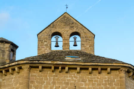 romanesque: 12th century Romanesque church located in the North of Spain which origin remains controversial. Stock Photo