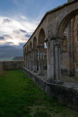 controversial: 12th century Romanesque church located in the North of Spain which origin remains controversial. Stock Photo