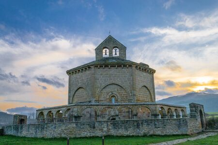 12th century Romanesque church located in the North of Spain which origin remains controversial. Stock Photo