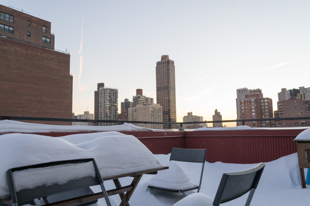 winter storm: Snow covered terrace in the Upper East Side of NYC after the winter storm Jonas