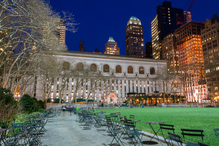 42nd: Bryant Park is located in Manhattan (NYC) between 5th and 6th avenue and 42nd street Editorial