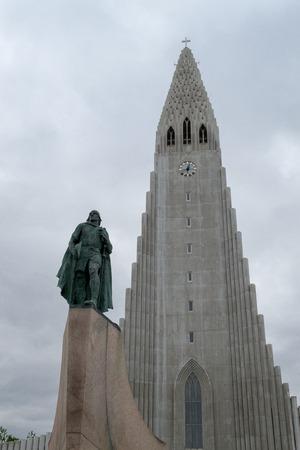 ericsson: Hallgrimskirkja is a Lutheran Church in Reykjavik Stock Photo