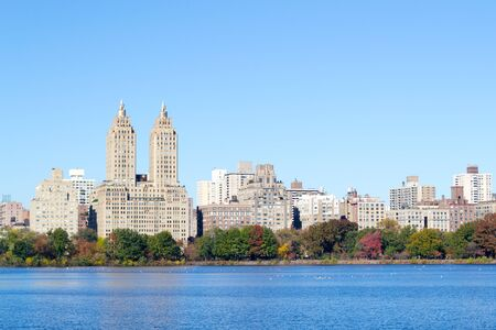 The views from the Jackie Kennedy Onassis reservoir is one of the main atractions of Central Park Banco de Imagens