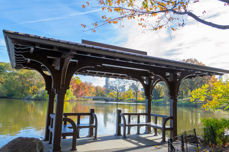 Bow bridge is the longest bridge in Central Park and its appearance with the fall colors is iconic Stock Photo