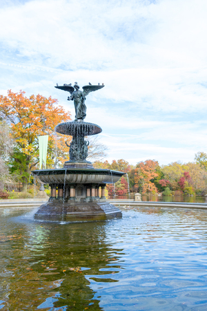 The Bethesda fountain located in the lower level of The Terrace in Central park was designed by Emma Stebbins in 1868