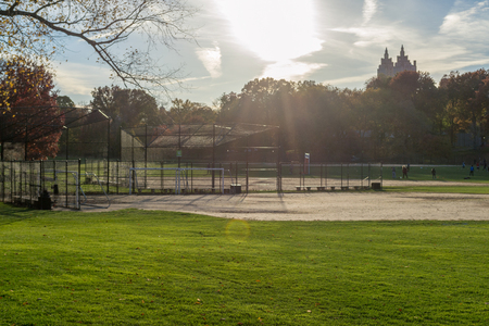 Central Park contains docens of baseball diamonds. The ones in this picture are located in the North Meadow