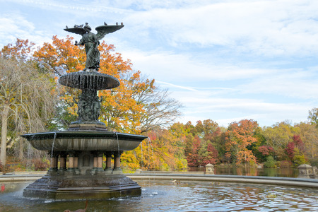 bethesda: The Bethesda fountain located in the lower level of The Terrace in Central park was designed by Emma Stebbins in 1868