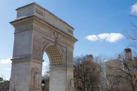 Washington Square arch was built in the 1889 centennial of George Washingtons inauguration as president Stock Photo
