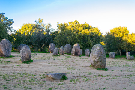 senhora: Almendres cromlech in Portugal is one of the largest monolithic complexes in Europe