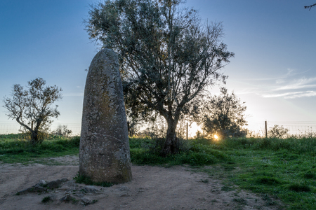 Almendres cromlech in Portugal is one of the largest monolithic complexes in Europe