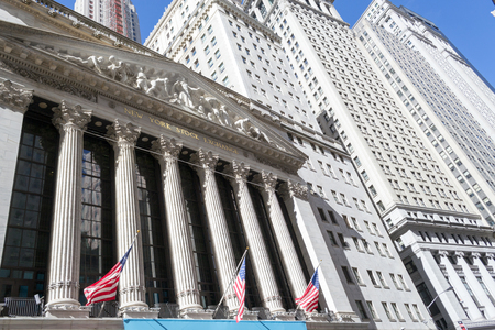 New York Stock Exchange from Broad street, Manhattan Stock Photo