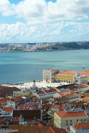 Castelo de Sao Jorge is located on a hilltop overlooking historic Lisbon (Portugal)