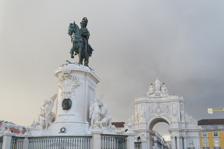 Praca do Comercio in Lisbon by the Tagus river is one of the most iconic areas of the city Editorial