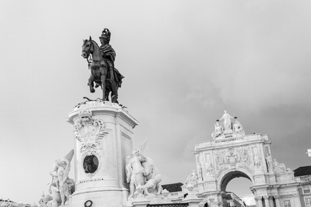 Praca do Comercio in Lisbon by the Tagus river is one of the most iconic areas of the city Stock Photo