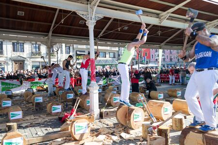 DECEMBER 21ST 2017, BILBAO, SPAIN-Wood chopping competition for the festivity of St. Thomas Editorial