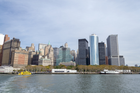 Downtown NYC from a ferry to Liberty Island