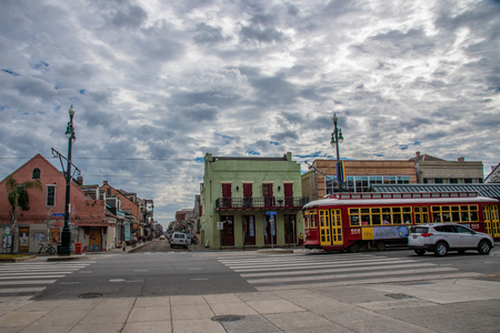 Classic New Orleans streetcar at Rampart street