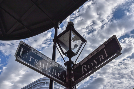 Crossroad of Ursulines and Royal Streets in New Orleans (USA) Stock Photo