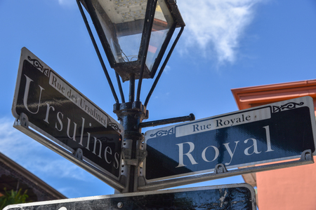 Crossroad of Ursulines and Royal Streets in New Orleans (USA) Editorial