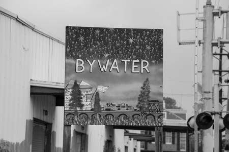 Sign welcoming visitors to the neighborhood of Bywater in New Orleans Editorial