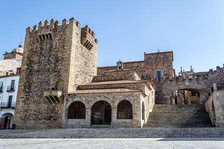 Tower of Bujaco beside Hermitage of La Paz is one of the main sights in Caceres (Spain)