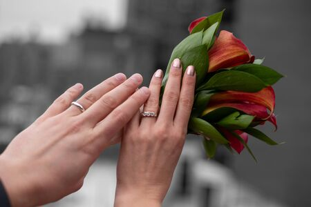 Hands of a newly married couple showing their rings in a roof top in the Upper East side of Manhattan (NYC, USA) Imagens