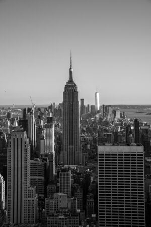 NYCs lower Manhattan with the Empire State Building from a high up point in Midtown Stock fotó