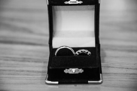 Box containing wedding rings before the ceremony