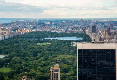 Central Park and North Manhattan seen from the top of the Rockefeller Center (NYC, USA) Stock Photo