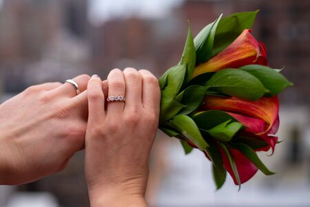 Hands of a newly married couple showing their rings in a roof top in the Upper East side of Manhattan (NYC, USA) Stock Photo