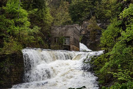 One of the several waterfalls at Ithaca falls in Upstate NY (USA) Stock Photo