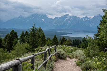Peaks of the Grand Teton range at the Grand Teton national park in Wyoming (USA)