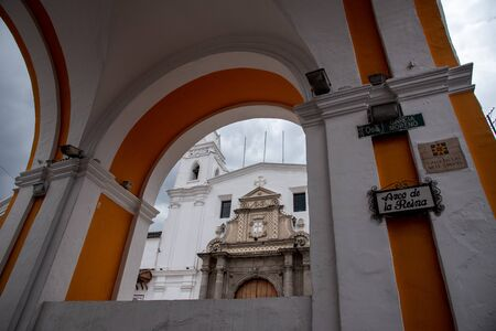 Facade of one of the most iconic monasteries in Quito (Ecuador)