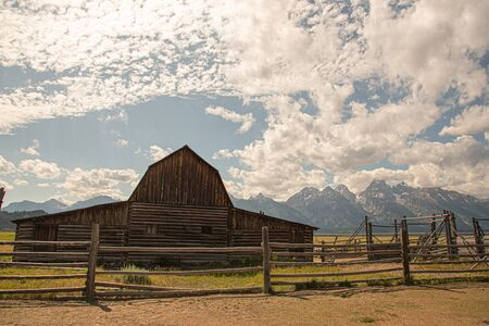 Mormon barn at the Grand Teton national park in Wyoming (USA)