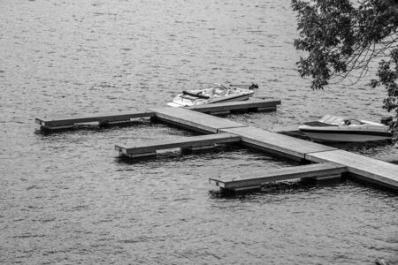 Wooden docks and boats at Port Loring in Ontario Canada Imagens