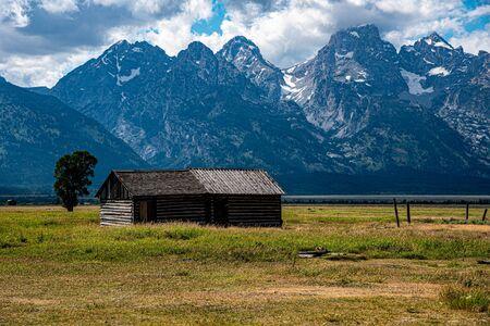 Mormon house at the Grand Teton national park in Wyoming (USA) Stock Photo