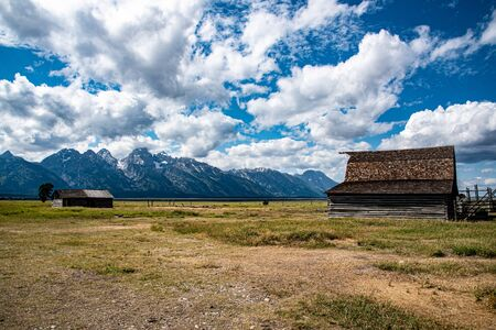 Mormon house and barn at the Grand Teton national park in Wyoming (USA) Stock Photo