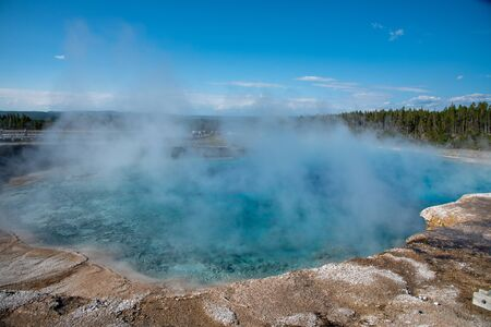 Excelsior Geyser Crater beside the Grand Prismatic spring in Yellowstone National Park