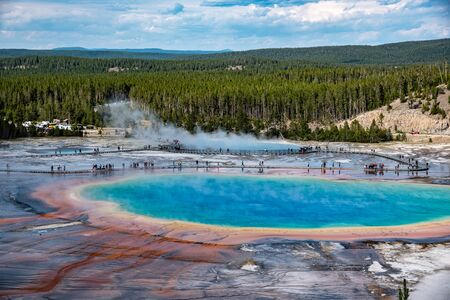 Grand Prismatic Spring, one of the main tourist attractions of Yellowstone national park is the largest hot spring in the US