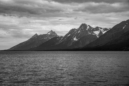 Peaks of the Grand Teton range from Jackson lake