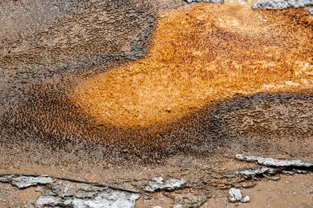 Orange and brown smear coming from a hot spring in Yellowstone National Park