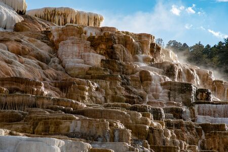 Minerva Terraces at the lower Mammoth Hot Springs in YellowstoneNational Park