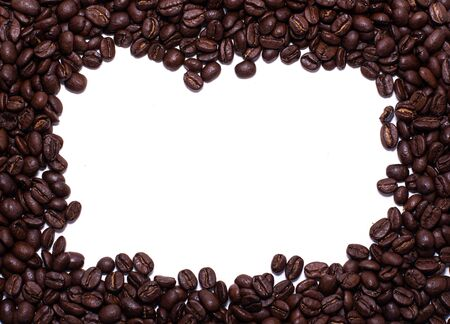 Square frame formed by coffee beans over a white background Reklamní fotografie