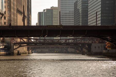 One of the many bridges that crosses the river in Chicago
