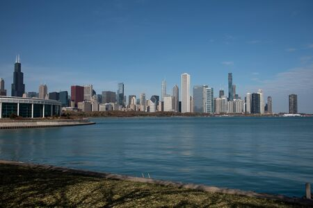 Downtown views of Chicago, the third most populated city in the US. 免版税图像
