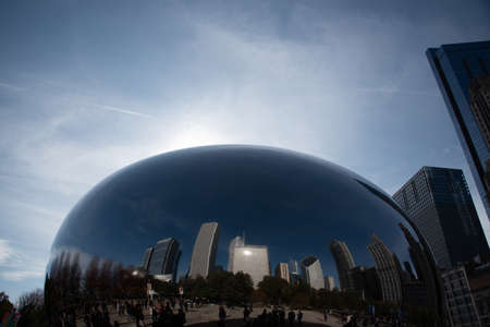 Chicago, IL, USA - November 9th 2019 - The Cloud Gate (aka the Bean), one of the main attractions of Chicago