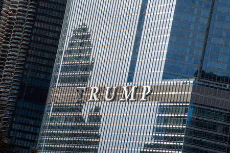 Chicago, IL, USA - November 9th 2019 - Glass building containing the Trump hotel in Chicago
